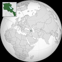 Armenia location on the globe